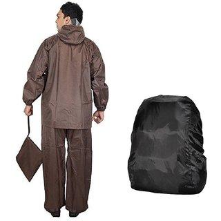 Brown Rain Suit + Backack Cover