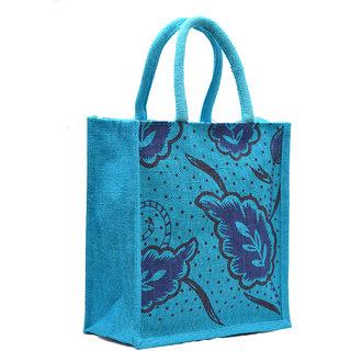 Blue Color Leaf Design with Blue Rope Handle Jute Burlap Lunch Tiffin Outdoor Handbag Bag Working Office Bag (Blue Print)