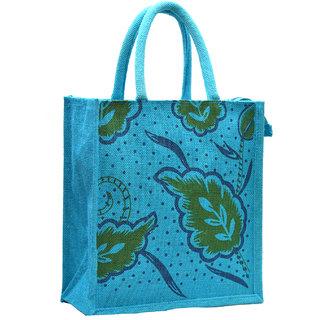 Blue Color Leaf Design with Blue Rope Handle Jute Burlap Lunch Tiffin Outdoor Handbag Bag Working Office Bag (Green Print)