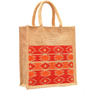 Natural Color Diamond Design with Brown Rope Handle Jute Burlap Lunch Tiffin Outdoor Handbag Bag Working Office Bag (Orange Print)
