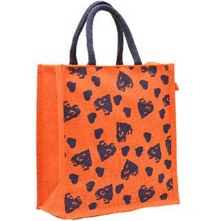 Orange Color Heart Design with Blue Rope Handle Jute Burlap Lunch Tiffin Outdoor Handbag Bag Working Office Bag (Blue)