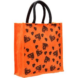 Orange Color Heart Design with Black Rope Handle Jute Burlap Lunch Tiffin Outdoor Handbag Bag Working Office Bag (Black)