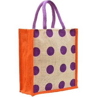 Orange Color Big Dot Design with Purple Rope Handle Jute Burlap Lunch Tiffin Outdoor Handbag Bag Working Office Bag (Purple Print)