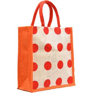 Orange Color Bid Dot Design with Orange Rope Handle Jute Burlap Lunch Tiffin Outdoor Handbag Bag Working Office Bag (Orange Printed)