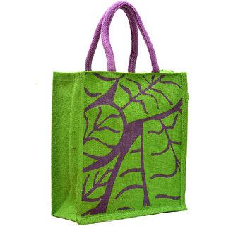 Green Color Leaf Design with Purple Rope Handle Jute Burlap Lunch Tiffin Outdoor Handbag Bag Working Office Bag (Purple Handle)