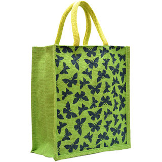 Green Color Butterfly Printed with Green Rope Handle Jute Burlap Lunch Tiffin Outdoor Handbag Bag Working Office Bag. (Green)