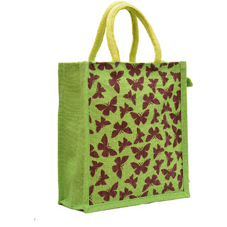 Green Color Butterfly Printed with Rope Handle Jute Burlap Lunch Tiffin Outdoor Handbag Bag Working Office Bag. (Brown Printed)