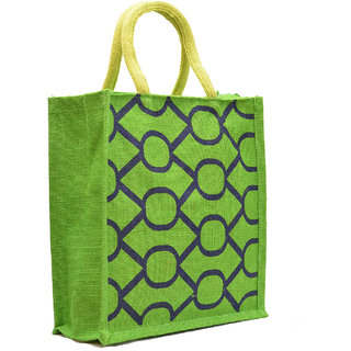 Green Color with Oval Design with Green Rope Handle Jute Burlap Lunch Tiffin Outdoor Handbag Bag Working Office Bag