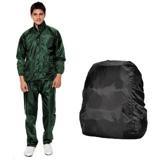 Green Rain Suit + Backack Cover