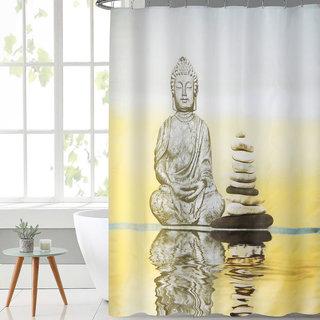 Lushomes Digital Buddha Design Shower curtain with 12 eyelets and 12 hooks (Single pc, 71 x 78, 180 x 200 cms)