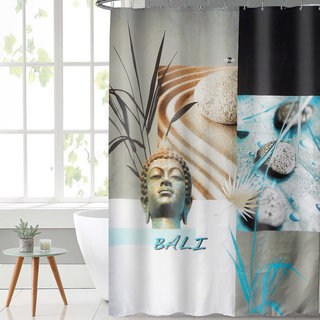 Lushomes Digital Bali Design Shower Curtain With 12 Eyelets And Hooks Single Pc