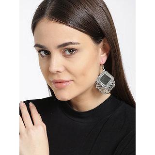 Cemaya Designer Oxidized Silver Mirror Earrings For Women