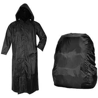 Black Long Knee Length Rain Coat + Backack Cover