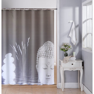 Buy Lushomes Digital Grey Buddha Design Shower Curtain With 12 Eyelets And Hooks Single Pc 71 X 78 180 200 Cms Online