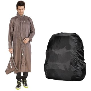 Brown Long Knee Length Rain Coat + Backack Cover