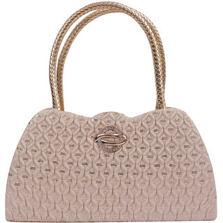 EzeeLives Women Cream Fancy Handbag