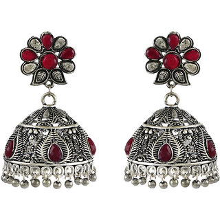 Aanya Big Oxidized Silver Jhumki Earrings