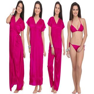 Women's Satin Nighty, Robe, Top, Night Dress - Set of 4(Maroon)