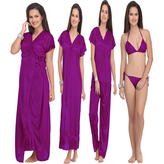 Rame Maroon Nightwear Dress  Women's Nighty -Set of 4 Pieces