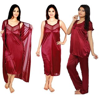 Bridal Nightwear for Women  Combo - 4 Pc Set- Nighty/Robe/Top/Bottoms