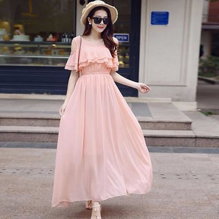 Raabta Peach Cold Shoulder Long Dress