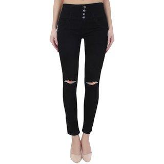 Code Yellow Women's Black Denim Mid Waist Ripped Knee Jeans