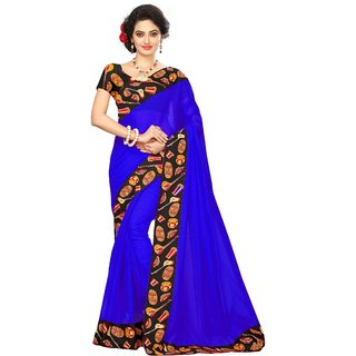 Vibha Blue Color Chanderi cotton Plain Saree -KJL3003