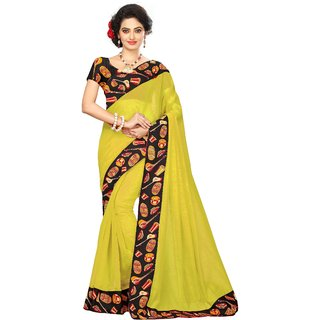 Vibha Yellow Color Chanderi cotton Plain Saree -KJL3005