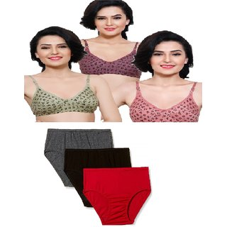 Famous art gallery Pack Of 3 Printed Bra  Plain 3 Panties Multicolor Combo