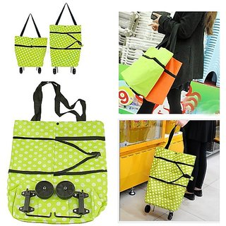 New Portable Folding Wheel Handle Carry Shopping Bag Rolling Grocery Cart Tote