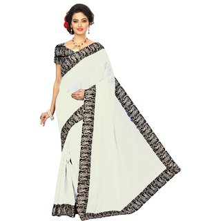 Vibha White Color Chanderi cotton Plain Saree -1RK1008