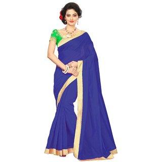 Vibha Blue Color Chanderi cotton Plain Saree -MDP2004