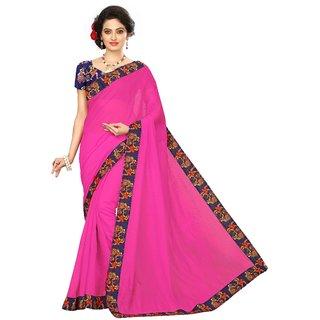 Vibha Pink Color Chanderi cotton Plain Saree -DND1002