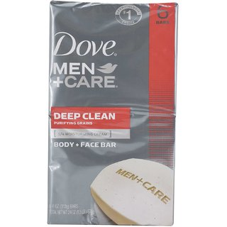 Dove Men+Care Body and Face Bar Deep Clean Purifying Grains (Pack of 6 x 4oz) - 678g (24oz)