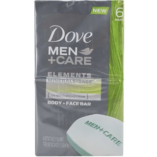 Dove Men+Care Body and Face Bar Elements Minerals+Sage (Pack of 6 x 4oz) - 678g (24oz)