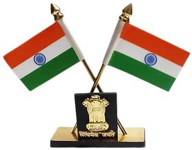 love4ride Carpoint Decorative Indian Flag Stand With Ashok Stambh For Car Dashboard