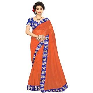 Vibha Orange Color Chanderi cotton Plain Saree -ANP1002