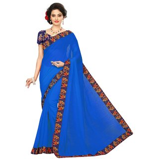Vibha Dark Blue Color Chanderi cotton Plain Saree -DND1007