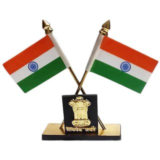 Carpoint Decorative Indian Flag Stand With Ashok Stambh For Car Dashboard