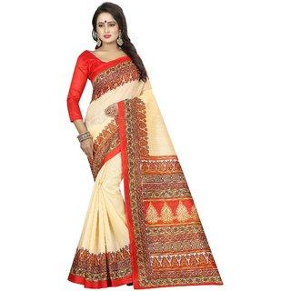 Vibha White Color Bhagalpuri Printed Saree -Devdas White