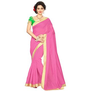 Vibha Pink Color Chanderi cotton Plain Saree -MDP2001