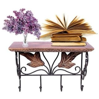 Desi Karigar Wooden  Wrought Iron Wall Bracket  Book Rack  Cloth Hanger