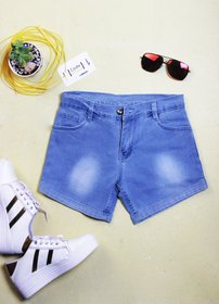 Code Yellow Women's Blue Stretchable Denim Shorts