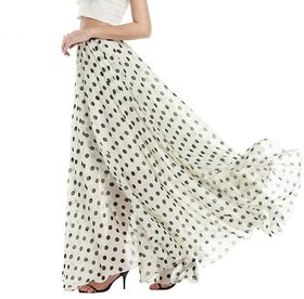 Code Yellow White Polkadot Flared Long Skirt For Women