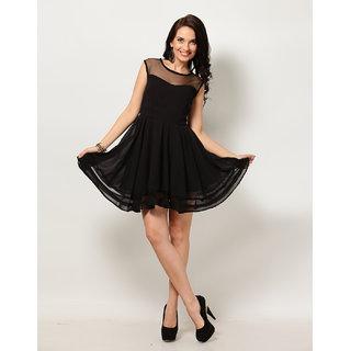 Code Yellow Women's Black Plain Sweetheart Neckline Dress with Net Yoke