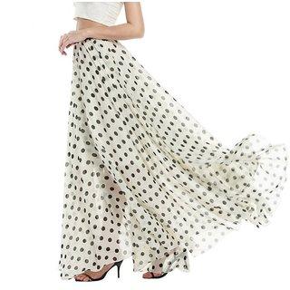 Code Yellow White Polkadot Flared Long Skirt For Women