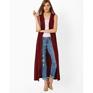 Code Yellow Women's Maroon Crepe Shrug