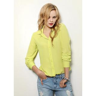 Code Yellow Women's Lemon Green Elegant Formal Shirt