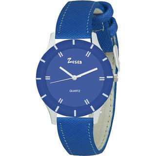 Zesta 17 Analog Watch Women Casual Leather Band Quartz Wrist Watch Girl Fashion Round Dial Adjustable Wristwatch (Blue)