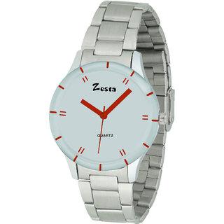 Zesta 16 Analog Watch Women Casual Metal Strips Quartz Wrist Watch Girl Fashion Round Dial Adjustable Wristwatch (White  Silver)